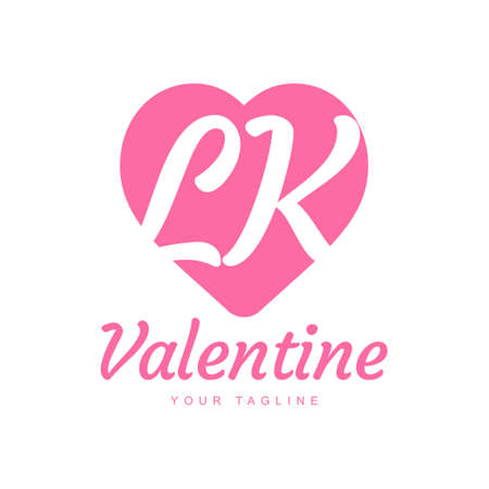 LK Letter Logo Design with Heart Icons, Love or Valentine Logo Concept