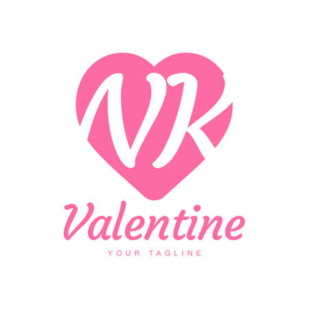 NK Letter Logo Design with Heart Icons, Love or Valentine Logo Concept