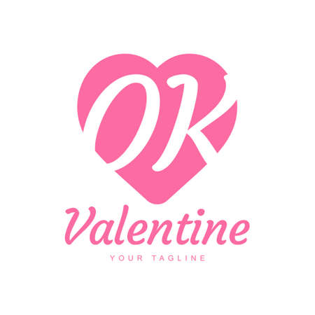 OK Letter Logo Design with Heart Icons, Love or Valentine Logo Concept