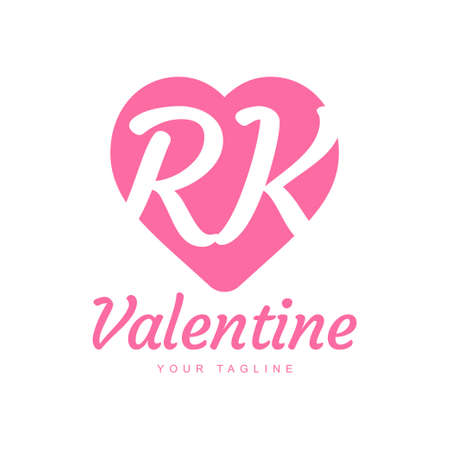 RK Letter Logo Design with Heart Icons, Love or Valentine Logo Concept