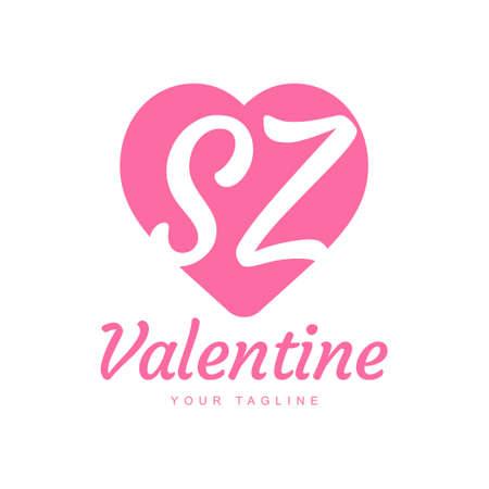 SZ Letter Logo Design with Heart Icons, Love or Valentine Logo Concept Logó