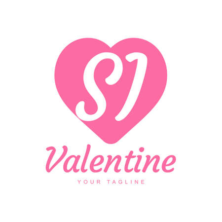 SI Letter Logo Design with Heart Icons, Love or Valentine Logo Concept Logo