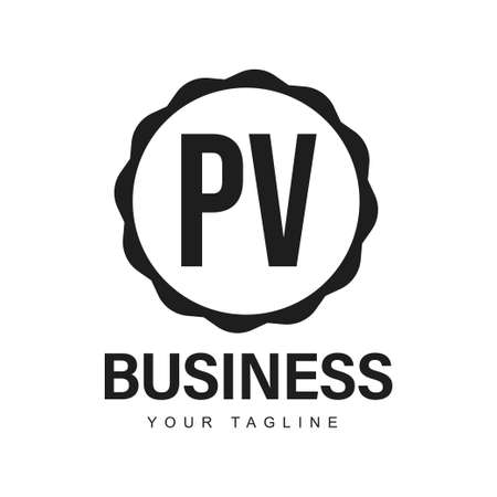 PV Initial A Logo Design with Abstract Style