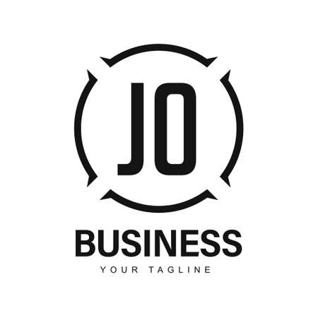 JO Initial A Logo Design with Abstract Style