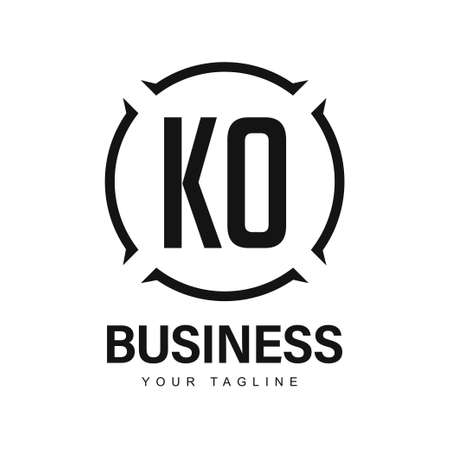 KO Initial A Logo Design with Abstract Style