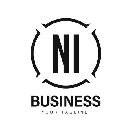 NI Initial A Logo Design with Abstract Style