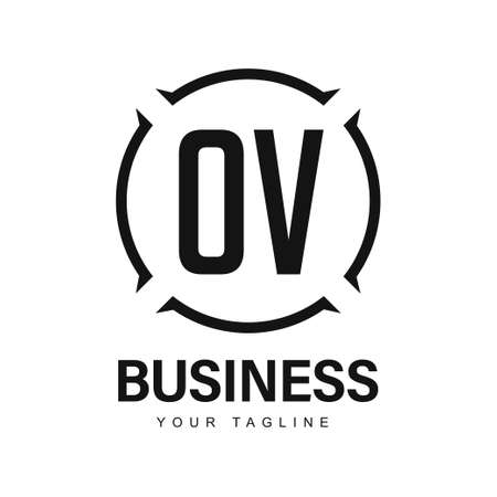 OV Initial A Logo Design with Abstract Style