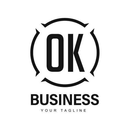OK Initial A Logo Design with Abstract Style Ilustração