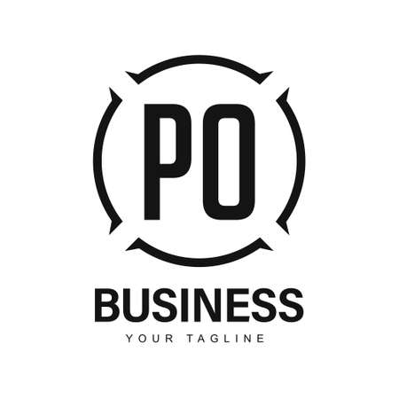 PO Initial A Logo Design with Abstract Style