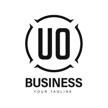 UO Initial A Logo Design with Abstract Style Ilustração