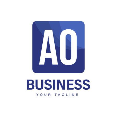 AO Initial A Logo Design with Abstract Style Ilustração