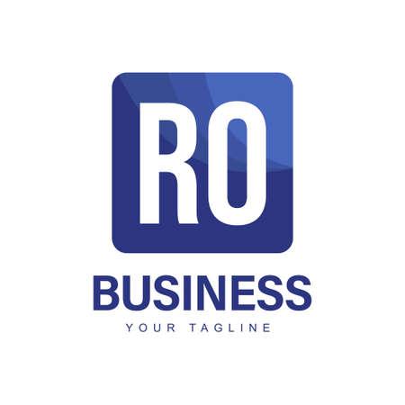 RO Initial A Logo Design with Abstract Style Ilustração