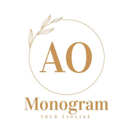 AO Initial A Logo Design with Feminine Style