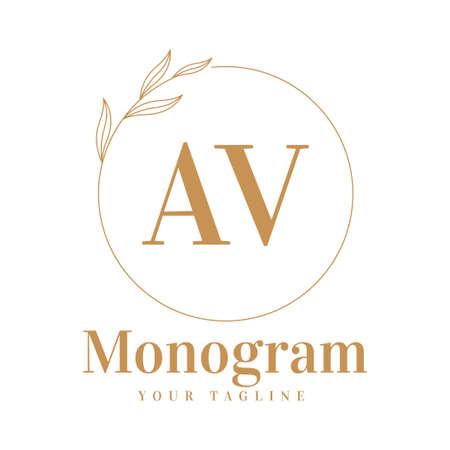 AV Initial A Logo Design with Feminine Style