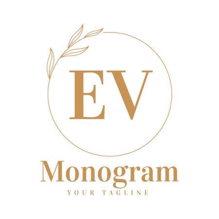 EV Initial A Logo Design with Feminine Style