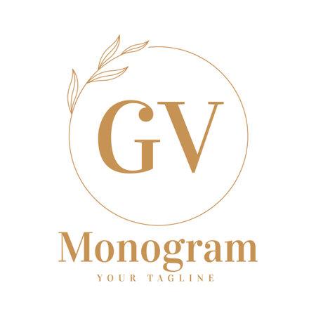 GV Initial A Logo Design with Feminine Style