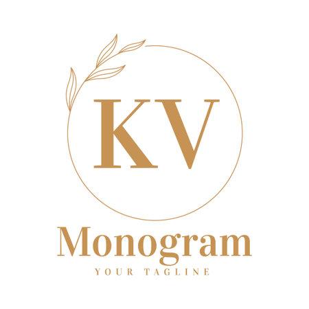 KV Initial A Logo Design with Feminine Style