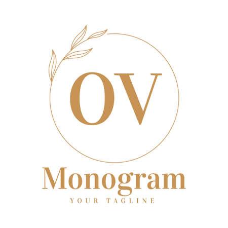 OV Initial A Logo Design with Feminine Style