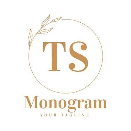 TS Initial A Logo Design with Feminine Style Logó