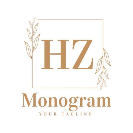 HZ Initial A Logo Design with Feminine Style Logó