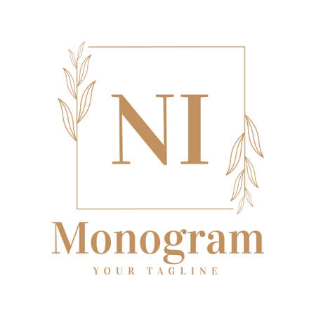 NI Initial A Logo Design with Feminine Style