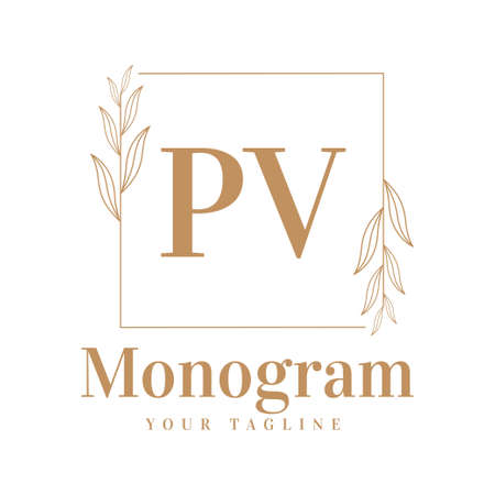 PV Initial A Logo Design with Feminine Style Logó
