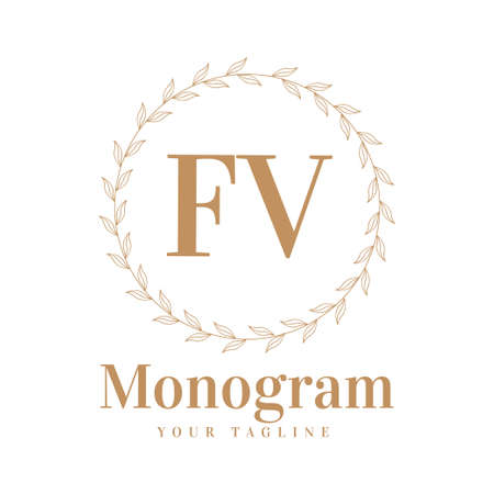 FV Initial A Logo Design with Feminine Style Logó