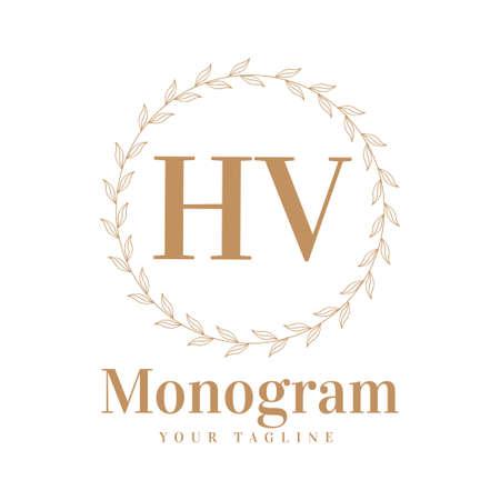 HV Initial A Logo Design with Feminine Style
