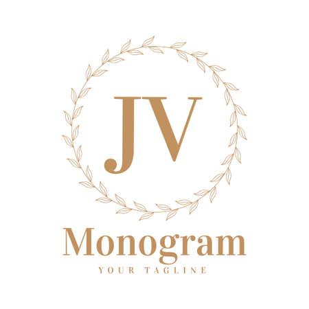 JV Initial A Logo Design with Feminine Style