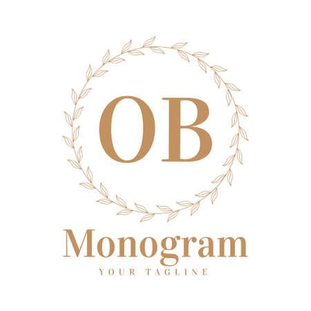 OB Initial A Logo Design with Feminine Style Logo