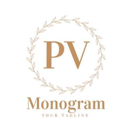 PV Initial A Logo Design with Feminine Style