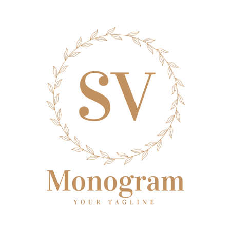 SV Initial A Logo Design with Feminine Style