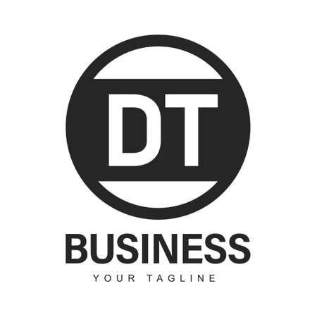 DT Initial A Logo Design with Abstract Style