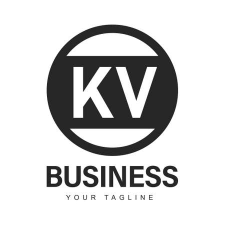 KV Initial A Logo Design with Abstract Style Logó