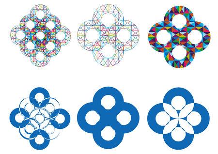 oriental vector: Vector - Oriental pattern and ornaments circular pattern set Illustration