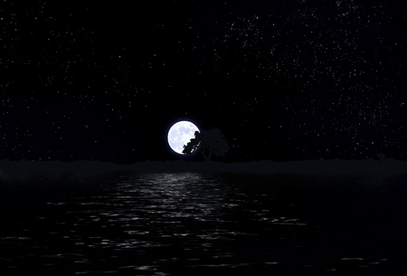 sullen: Moon in the sky with stars and water