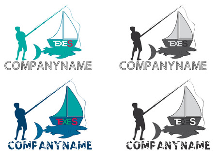 marline: Fishing boat logo logos, vector file easy to edit.