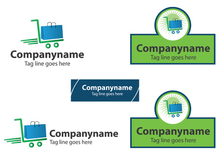shopping cart online shop: Shopping station Logo Design or Online purchase logo, vector file easy to edit.