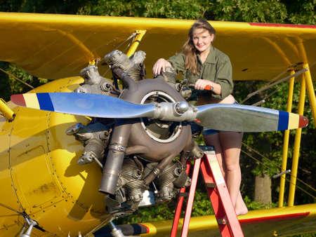Model Fixing Antique Airplane