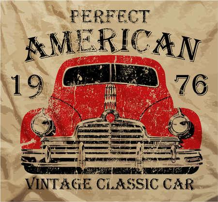 El viejo coche americano clásico retro del vintage de la camiseta Diseño Gráfico Foto de archivo - 31060661