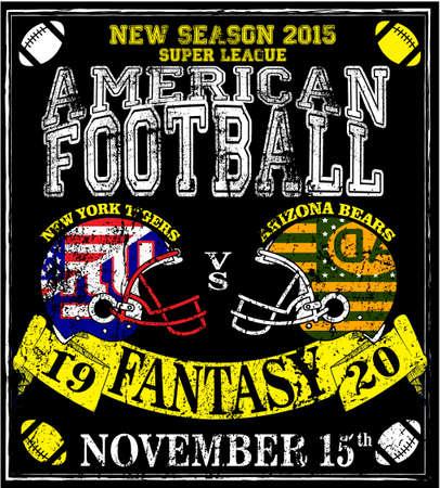American football Man T shirt Vintage print for boy sportswear  Vectores