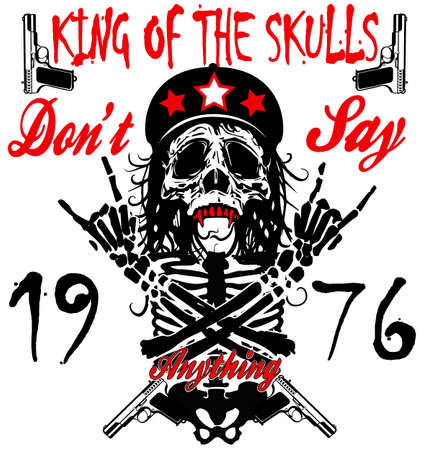 Skull and crossbones / a mark of the danger warning / T-shirt graphics / super skull illustration