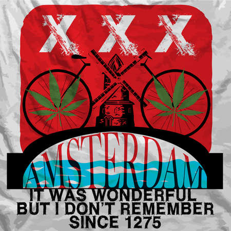Amsterdam Poster Man T shirt Graphic Design Vector