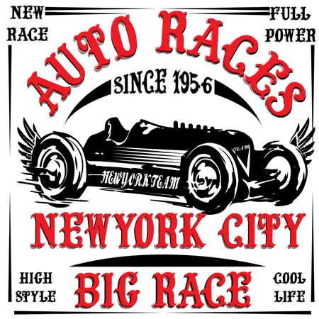 vintage race car print man t shirt vector graphic design Vector