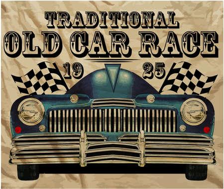 rusty: El viejo coche americano clásico retro del vintage de la camiseta Diseño Gráfico Vectores