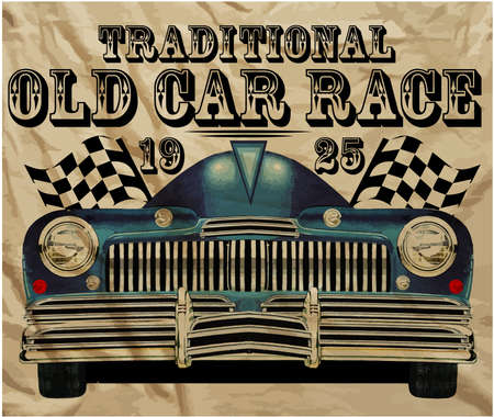 Old American Car Vintage Classic Retro man T shirt Graphic Design Иллюстрация