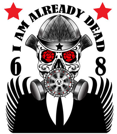 Skull Gas Mask Poster Man T shirt Graphic Design Vectores