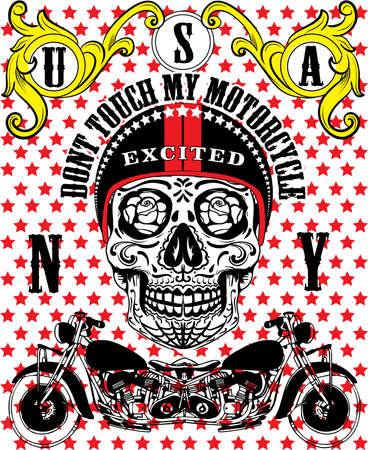 Schedel Motorcycle Vintage Man T-shirt Grafisch Vector ontwerp Stock Illustratie