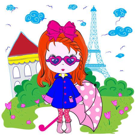 Kids Girl Paris Teenage T shirt Design Vector