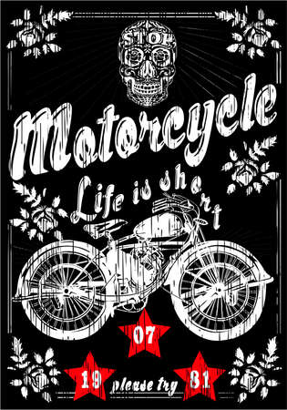 Motorcycle Skull Man Vintage Old T shirt Design Vector